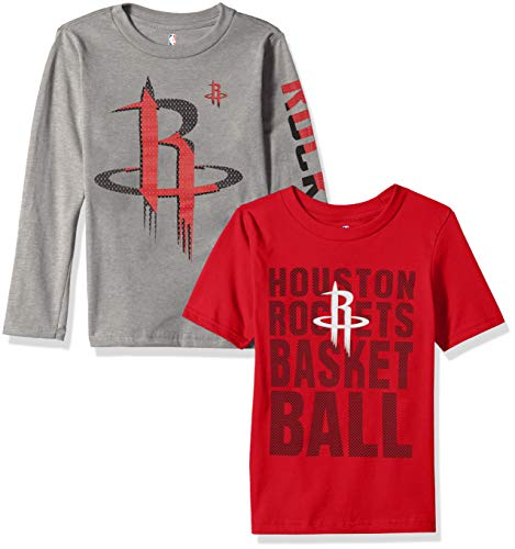 NBA by Outerstuff NBA Kids & Youth Boys Houston Rockets Short Sleeve & Long Sleeve Combo Pack, Red, Kids Medium(5-6)