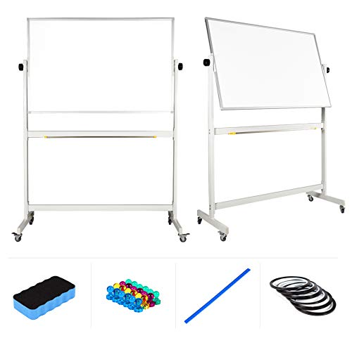 """Mobile Whiteboard 48"""" x 32"""" inch Magnetic Double Sided Flip Over Dry Erase Reversible Portable Home Office Classroom Mobile White Board with Magnetic Eraser Ruler 24 Push Pin Magnets 6 Gridding Tapes"""