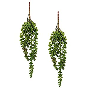 LonTime Artificial Succulents 2 Pcs Artificial Hanging Plants Fake Succulents String of Pearls Lover's Tears Succulent Branch Pick Succulent Stems for Home Wall Indoor Outside Hanging Basket 117