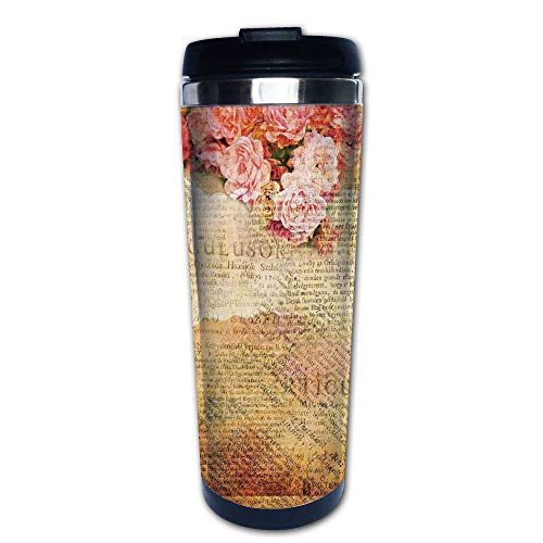 Stainless Steel Insulated Coffee Travel Mug,Combined with Roses and Old Love Letters,Spill Proof Flip Lid Insulated Coffee cup Keeps Hot or Cold 13.6oz(400 ml) Customizable ()