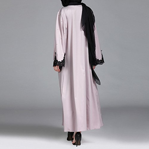 Islamic Muslim Women Full Sleeve Clothing Lace Splicing Long Coat Middle East Long Robe (M) by Conina (Image #4)