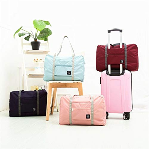 LeiJ Foldable Large Duffel Bag Luggage Storage Bag Waterproof Travel Pouch Tote Bag Wine red one Size