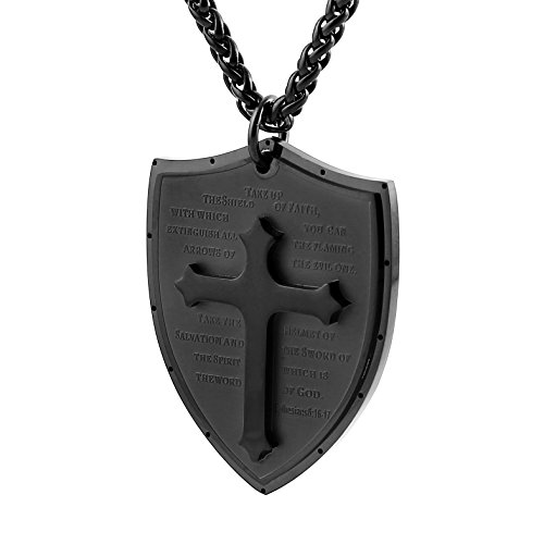 HZMAN Shield Armor of God Ephesians 6:16-17, Faith Cross Stainless Steel Pendant Necklace (Black) (Black Cross Religious)