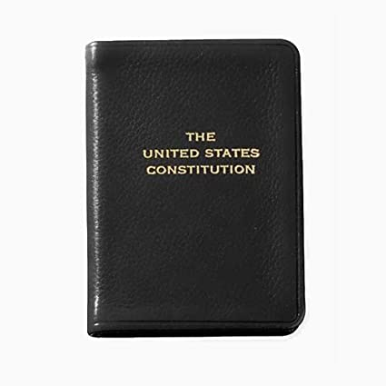 Constitution and the Declaration of Independence New Pocket Leather Bound Gift Antyki i Sztuka