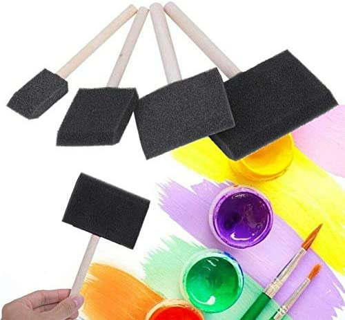 NUOBESTY 10Pcs Foam Sponge Paint Brush Art Drawing Brush with Wood Handle for Acrylics Varnishes Crafts Art Oil Stains Watercolor