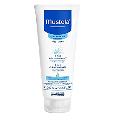 Mustela 2 in 1 Cleansing Gel, Baby Body & Hair Cleanser for Normal Skin, Tear-Free, with Natural Avocado Perseose, 6.76 Fl. Oz