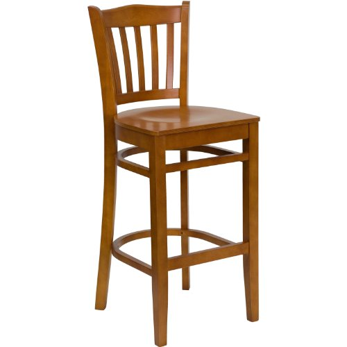 MFO Cherry Finished Vertical Slat Back Wooden Restaurant Bar Stool