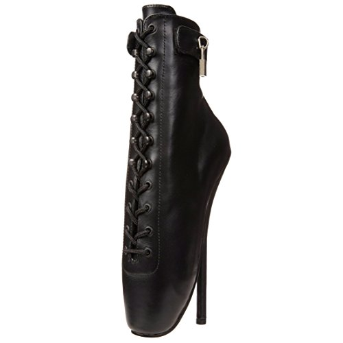 Womens Lace Up Ballet Pumps 7 Inch Spike Heel Black Leather Fetish Shoe Devious Size: 9 (Black Leather 7 Inch Heel)