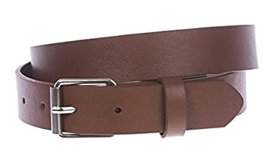"BBBelts Boys 1"" Solid Brown Genuine Synthetic Leather Snap On Roller Buckle Belt"