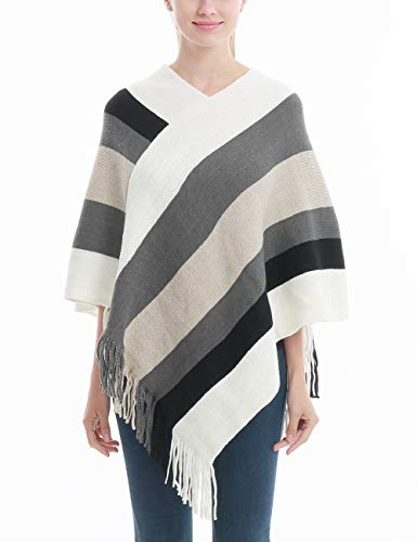- Ferand Women's Elegant Knitted Poncho Top with Stripe Patterns and Fringed Sides, White & Grey