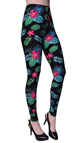 VIV Collection Plus Size Printed Leggings (Tropical Floral)