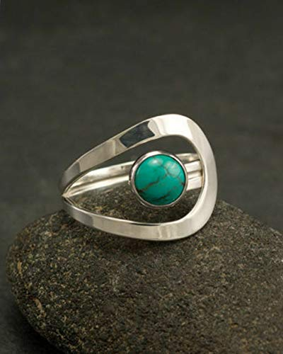 Wausa Vintage Women Men Silver Ring Turquoise Wedding Engagement Jewelry Size 6-10 | Model RNG - 9867 | 8
