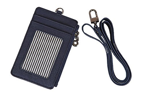ID Card Holder Wallet With Landyard and Zipper Badge Case Genuine Leather for Women (Navy)