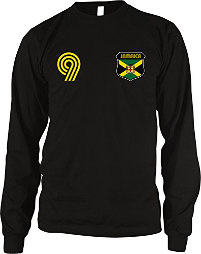Jamaica Soccer Style Crest and Number Men's Long Sleeve Thermal Shirt, Amdesco, Black Large (Soccer Neck Thermal)