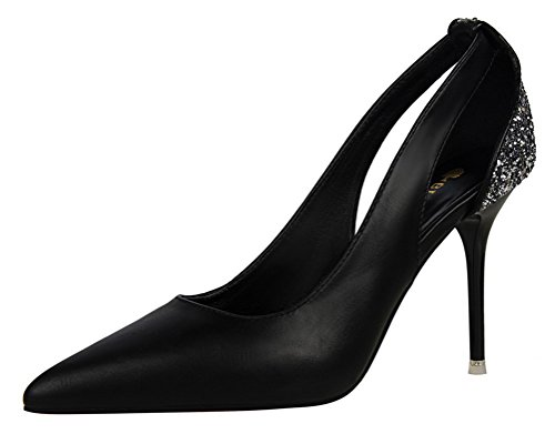 Video Modelle In Costume (T&Mates Womens Hollow Out Sequins Pointy Slip-on High Heel Stiletto Party Evening Dressy Pumps Shoes (7.5 B(M) US,Black))