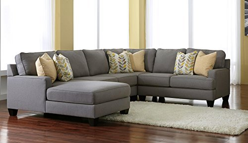 Signature Design by Ashley Chamberly 24302-16-34-77-56 4PC Sectional Sofa with Left Arm Facing Corner Chaise + Armless Loveseat + Wedge + Right Arm Facing Loveseat and Pillows Included in Alloy (Corner Facing Sofa Right)