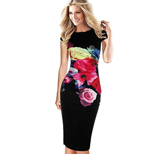 FORUU Dress for Women Flower Elegant Printed Floral Short Sleeve Evening Party