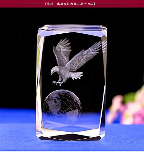 Viet SF Statue - Efficacious Home Family Talisman- Top Cool Animal Eagle Hawk World Feng Shui Figurine 3D Crystal Statue - by GTIN - 1 Pcs - Big Eagle Statue