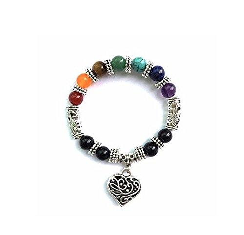 arnonJewelry Chic Retro 7 Chakra Healing Yoga Reiki Prayer Bead Bracelet Buddha Head Bracelet