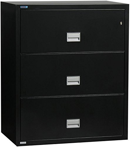 Phoenix Lateral 31 inch 3-Drawer Fireproof File Cabinet with Water Seal - Black