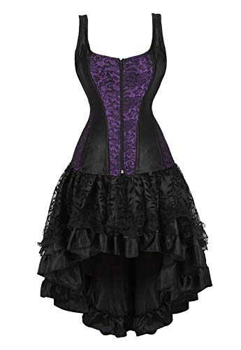 Saloon Girl Costumes Plus Size (frawirshau Corset Dress Saloon Girl Costumes for Women Bustier Lingerie and Black Skirt, Purple)