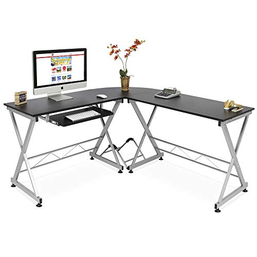 Best Choice Products Wood L-Shape Corner Computer Desk PC Laptop Table Workstation Home Office Black ()