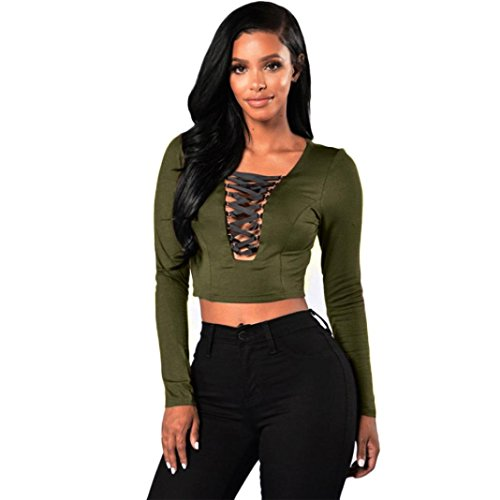 GBSELL Fashion Women Long Sleeve Lace Up Shirt Crop Top (S, Army (Military Crop)