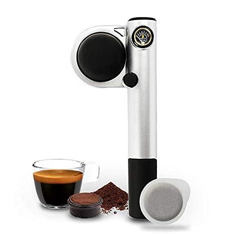 Handpresso 127010 - Cafetera de espresso manual portátil, color plateado (material aluminio, potencia