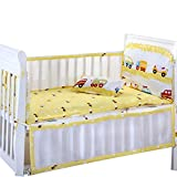 Baby Mesh Crib Liner Bed Bumper Pads Breathable 4-Sides Coverage, Anti-Collision Bedding Kit, Bed Safety Rail Guard, Thickening, Detachable & Washable, Car,115×65