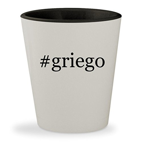 #griego - Hashtag White Outer & Black Inner Ceramic 1.5oz Shot Glass