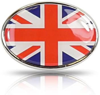 British Flag Union Jack Oval Shape Metal Car Emblem Elektroplate