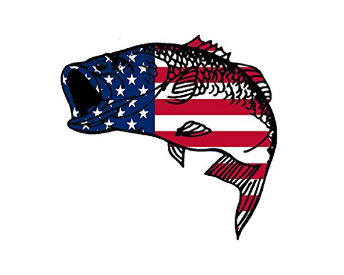 Bass Fish USA Flag Sticker Decal Fishing Bumper Sticker Fish Patriotic United Auto Decal Car Truck Boat RV Real Life Rod Tackle Box