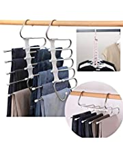 Sonny's Pants Hangers, 3 Pack with 2 Adjustable 5 in 1 Pants Hangers, and 1 Nine Hole Space Saving Hanger, Multi-Layer Hanger Made of Hardened Stainless Steel for Home Storage and Organizing closet space; Perfect for travel, Space Saving Storage for Trousers, Scarfs and Belts!