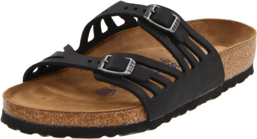 Birkenstock Women's Granada Soft Footbed Sandal,Black Oiled Leather,39 M EU
