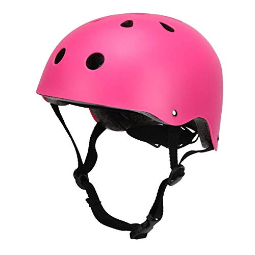 (BOSONER Kids Cycle Bike Helmet, Adjustable for Toddler Multi Sport BMX Bicycle Helmet, Sports Safety Protective Helme for Mountain Bike Skateboard Skating, Light Weight (Matte Pink))
