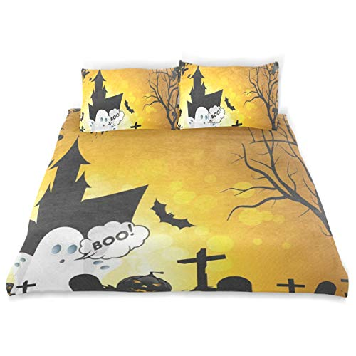 OSBLI Bedding Duvet Cover Set 3 Pieces Halloween Ghost Bed Sheets Sets and 2 Pillowcase for Teens]()