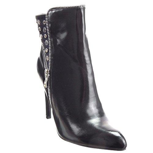 Sopily - Scarpe da Moda Stivaletti - Scarponcini Low boots alla caviglia donna borchiati quadrata piramide strass Tacco Stiletto tacco alto 10.5 CM - soletta sintetico - foderato di pelliccia - Nero