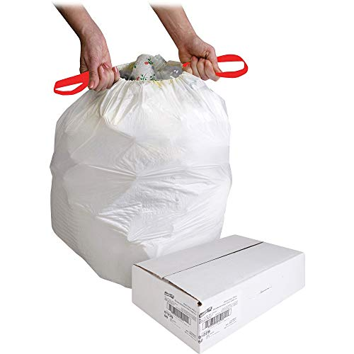 (Genuine Joe Drawstring Trash Can Liner - 13 gal - 31quot; x 25.12quot; - 0.90 mil (23 Micron) Thickness - Low Density - Resin - 60/Box - White)