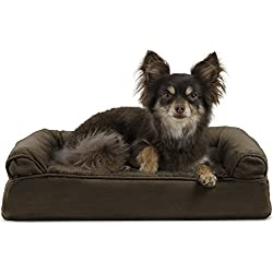 Furhaven Pet Dog Bed | Orthopedic Ultra Plush Sofa-Style Couch Pet Bed for Dogs & Cats, Espresso, Small