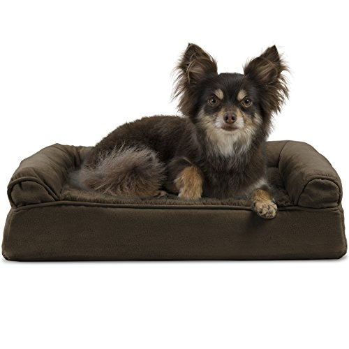 (FurHaven Pet Dog Bed | Orthopedic Plush & Suede Sofa-Style Couch Pet Bed for Dogs & Cats, Espresso, Small)