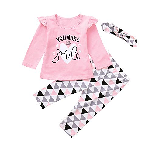New Newborn Toddler Infant Baby Girls Letter Print Tops Geometric Pants Outfits Set Long Sleeve For Children In Winter Toddler Baby Girl Kid Autumn Warm Clothes Baby Coat (12M, Pink)