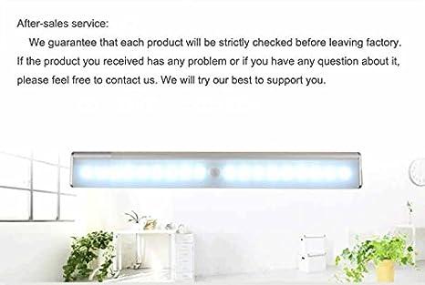 DSYCAR Barra de Luz LED Nocturna inalámbrica con sensor de movimiento Wireless para Armario de Gabinete. Luz: 10 - LED; Barra de Luz con Tira Magnética ...