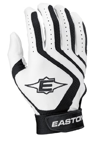 (Easton Typhoon II Youth Batting Gloves, White/Black, X-Large)