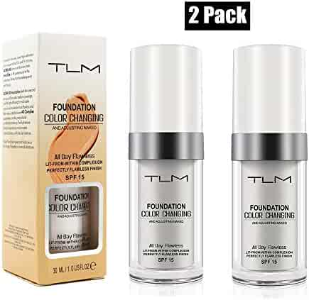 2 Pack TLM Flawless Colour Changing Foundation Makeup, Concealer Cover Cream, Warm Skin Tone Foundation liquid,Base Nude Face Moisturizing Liquid Cover Concealer for Women and Girls