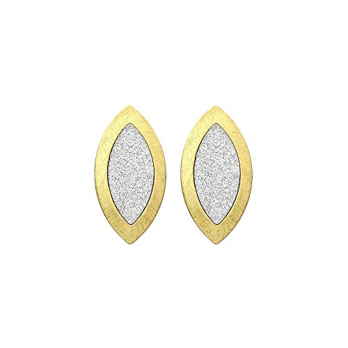 Almond Shaped Earrings - Brushed Gold Tone and Sparkle Finish Almond Shaped Drop Earrings