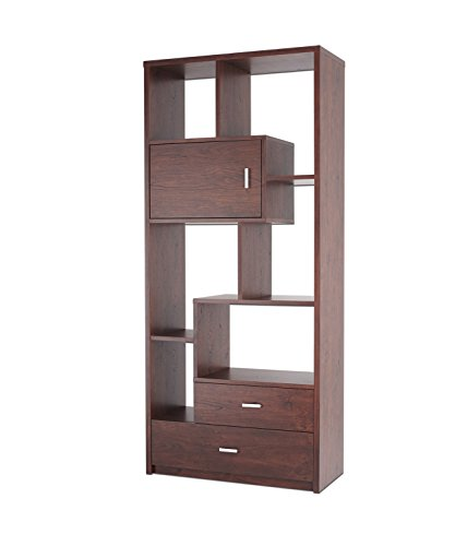 Contemporary Walnut Bookcase (ioHOMES Pollock Modern Display Case with Drawers, Vintage Walnut)