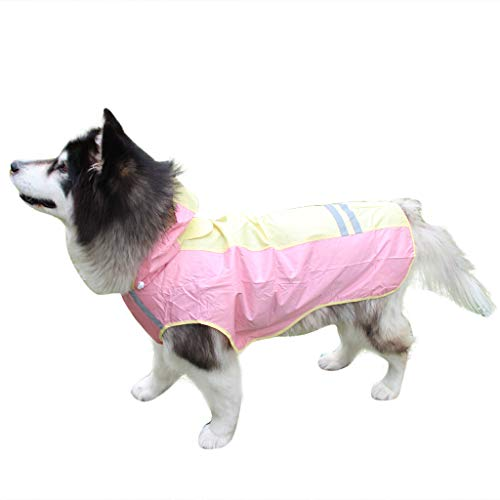 Smdoxi Spring and Summer pet Clothes high Visibility Raincoat Jacket Reflective Stripes Medium and Large Dogs