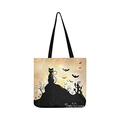 Halloween Bat Crochet Patterns (Happy Halloween Cats And Bats Pattern Canvas Tote Handbag Shoulder Bag Crossbody Bags Purses For Men And Women Shopping)