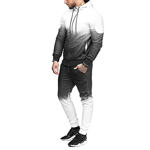 iLXHD Patchwork Zipper Sweatshirt Top Pants Sets Sports Suit Tracksuit(Z-White,L) (Cotton Plaid Suit)