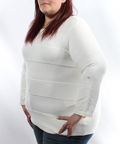 Charter Club Ivory Striped Jewel Neck 3/4 Sleeve Sweater Plus 2X ()